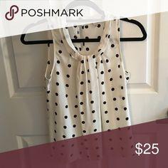 J.Crew sleeveless blouse Cream with black polka dots, 100% silk J. Crew Tops Blouses