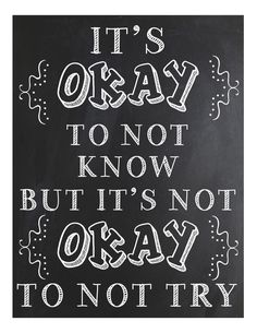 It's Okay Not to Know.... Classroom Sign by FourWinks on Etsy