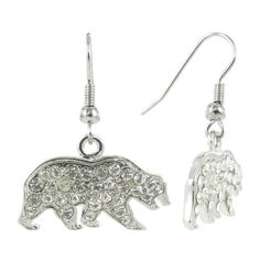 Clear Crystal Cal Bear Logo Fish Hook Earrings