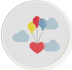 Flying Hearts PDF Cross Stitch Pattern by DailyCrossStitch on Etsy