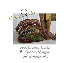 Deuces R Wild Bead Looming Tutorial 2 Versions, Leather Loom Work Country Western Bracelet Super Duo Seed Beads Wrap Bracelet Boho Chevron