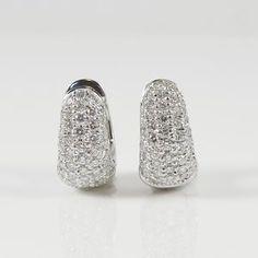 Roberto Coin 18K White Gold 1.51tcw Diamond Huggie Hoop Earrings