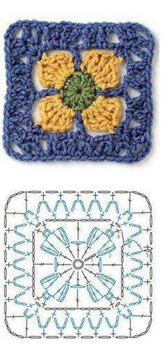 crochet granny sq chart ✿⊱╮Teresa Restegui http://www.pinterest.com/teretegui/✿⊱╮