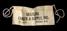 Vintage 60\'s Grayling Michigan Lumber & Supply Company Nail Apron Shop Apron #GraylingMichiganLumberSupply