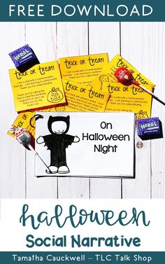 Grab this free social narrative to help prepare your students for Halloween!  Awareness cards are included to help families educate and advocate! #halloweenspeechtherapy