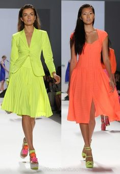 Flaunting solid neon dresses