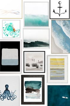 Beach and ocean inspired art for your modern coastal living room and anywhere else in your home. Coastal Wall Art, Coastal Decor, Modern Coastal, Coastal Style, Water Walls, Coastal Living Rooms, Living Room Color Schemes, Water Art, Beach House Decor