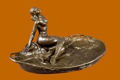 Art Nouveau Deco Sexy Nude Lady Jewelry Dish Bronze Sculpture.