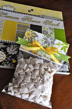 cute way to wrap homemade treats - fill ziploc bag, staple on scrapbook paper, add a bow.  Need to remember for the holidays!