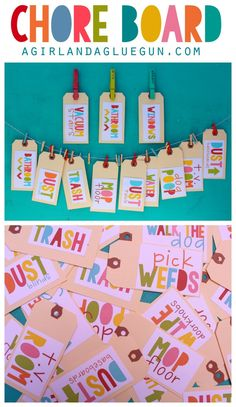 chore board with free printables