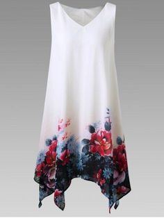 Plus Size Dresses,Summer Dress-Fitness Length Floral Print Chiffon Sleeveless Irregular Hem Mini Dress (XXL, White) -- Check out the image by visiting the link. (This is an affiliate link) Casual Dresses For Teens, Trendy Dresses, Cheap Dresses, Plus Size Dresses, Plus Size Outfits, Nice Dresses, Dresses Dresses, Floral Dresses, Chiffon Dresses