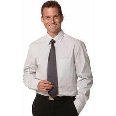 MENS TICKING STRIPE LONG SLEEVE SHIRT Colours : Grey/White | White/Blue | White/Grey Shirting / Adults (M7200L_win) Striped Long Sleeve Shirt, Long Sleeve Shirts, Promotional Clothing, Ticking Stripe, Grey And White, Colorful Shirts, Colours, Shirt Dress, Suits