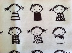 Cute Kids Fabric in Brown Cotton Canvas Japanese by bertiesfabric, $19.95