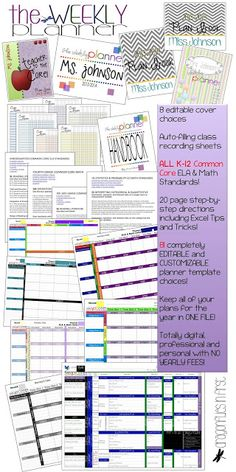 Teacher plan book. Digital and completely customizable. Keep an entire year's worth of plans in ONE FILE. 81 different planner templates. All common core standards for grades K-12. 8 different editable covers and auto-filling recording sheets.