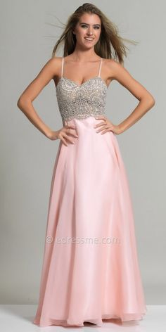 Radial Beaded Chiffon A-line Prom Dress by Dave and Johnny #edressme