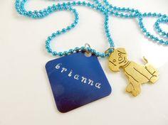 Custom-Girl's personalized blue necklace by jewelryandmorebykat