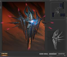 The Paladin class was designed for Star Trek Online& expansion: Agents of Yesterday. Spaceship Art, Spaceship Design, Akira, Star Trek Online, Sci Fi Spaceships, Dragon Pictures, Dragon Pics, Alien Concept Art, Monsters