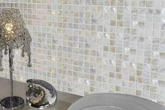 Glas Mosaik Fliesen in Beige Wandfliesen im Bad