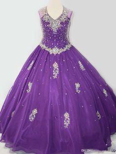 2016 Luxury Purple Girl's Pageant Dresses Sleeveless V Neck Ball Gown For Weddings Flower Girls Dresses Backless Crystal Kids Formal Wear