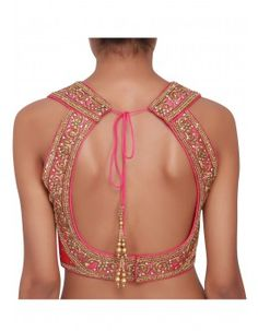 Hot pink blouse featured in raw silk, embellised in zari and pearl only on Kalki