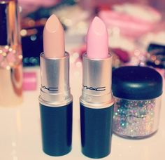 "M.A.C lipsticks (L to R) in ""Close Contact""  ""Saint Germain"""