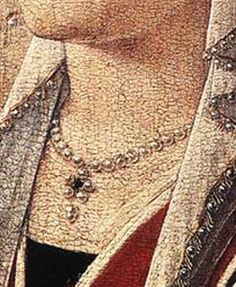 Bead trimmed veil.  ''The Last Judgment '' Triptych , between 1467 and 1471 (detail ),oil on panel ,by Hans Memling (circa 1433–1494) Location:National Museum, Gda?sk.