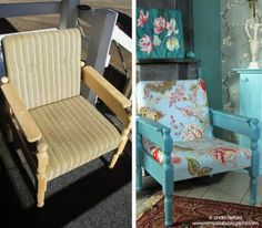 DIY chair makeover - new life to an old chair found from the dumpster. http://romppala.blogspot.com
