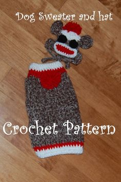 Crochet pattern  Sock Monkey Dog Sweater and by poshpoochdesigns, $5.99