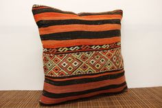 Natural Kilim pillow cover 18x18 inches by stripepattern on Etsy