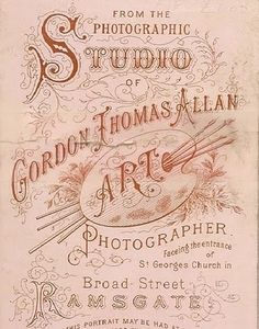 From the Photographic Studio of Gordon Thomas Allan.