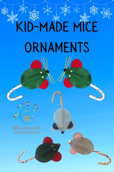 Kid-Made Mice Christmas Ornaments Holiday Inspires Craft Project #mosswoodconnections #crafts #holidays #kidmade #ornaments Kids Make Christmas Ornaments, How To Make Ornaments, Christmas Decorations To Make, Christmas Diy, Holiday Activities, Toddler Activities, Holiday Crafts, Crafts For Kids To Make, Kids Crafts