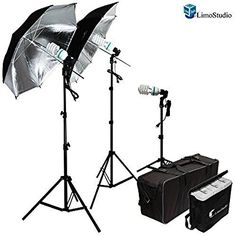 LimoStudio 600W Photography Triple Photo Umbrella Light Lighting Kit, Video, and Portrait StudioLighting Kit With 3 CFL Photo Bulbs, Black/Silver Reflective Umbrellas, and Carrying Case, AGG912-A