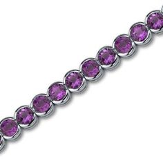 Amazon.com: Must Have Awesome 16.00 carats total weight Round Cut Amethyst Gemstone Tennis Bracelet in Sterling Silver Rhodium Finish: Peora: Jewelry