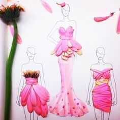 La designer Grace Ciao, qui nous vient tout droit de Singapour, nous offre avec son oeil artistique et sa sensibilité féminine de superbes petites créations de robes réalisées avec des pétales de fleurs.