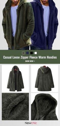 54e91965d9e5 Mens Winter Casual Loose Fleece Solid Color Long Sleeve Warm Coat Mens  Winter