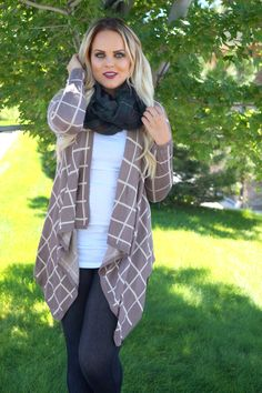 Taupe Cage Print Cardigans