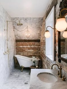 Gooseneck Teardrop Milk Glass Wall Sconce used in a Gorgeous Bathroom Design by Jenna Wright . Bathroom Design Small, Bathroom Interior Design, Modern Bathroom, Bathroom Designs, Parisian Bathroom, Bathroom Vintage, Clawfoot Tub Bathroom, Master Bathroom, Rental Bathroom
