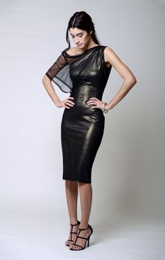 Elegant cocktail dress, made of luxurious Italian shimmery gold ponte and a second layer of silky soft mesh. A stunning, delicate, yet powerful