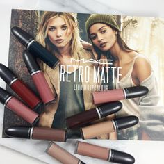 MAC has new shades of the MAC Retro Matte Liquid Lipcolour in on-trend muted and deep tones. A liquid-suede finish that's impossible to forget Mac Lipstick Swatches, Mac Eyeshadow, Makeup Swatches, Lipsticks, Retro Matte Liquid Lipcolour, Mac Retro Matte, Lipstick For Fair Skin, Liquid Lipstick, Bright Lipstick