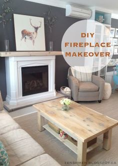 Don't you just hate it when you have a home with no fireplace!  Hhhhm : DIY Fireplace Makeover. Not sure I like the base, but I do like the substantial mantel. Wonder if you could put stone on base and up the wall to make it look more realistic. Sighhhhhh....needs a real fire, though.
