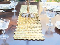 Or use gelt to create a table runner. | 21 Super Cute Ways To Decorate For Hanukkah