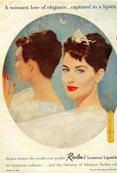 #1950s #vintage #fifties #makeup #beauty #cosmetics #fashion #style #makeup #cosmetics #elegance  #redlipstick #lipstick #red