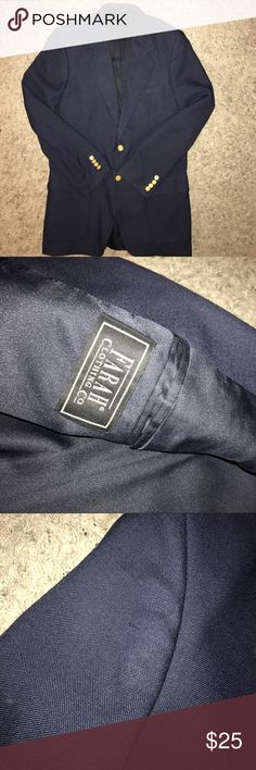Men's sports coat size 42. Navy blue 3 small picks located on right upper arm. Picture provided. Otherwise in good condition. Smoke free home. Farah Suits & Blazers Sport Coats & Blazers