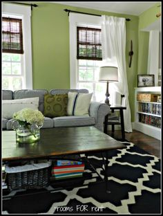 Living Room in green with navy accents. So much colour and pattern! Love it!