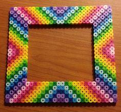 Rainbow Frame Hama Perler Beads by MolilyGalleria Easy Perler Bead Patterns, Melty Bead Patterns, Diy Perler Beads, Perler Bead Art, Pearler Beads, Fuse Beads, Beading Patterns, Loom Beading, Modele Pixel Art