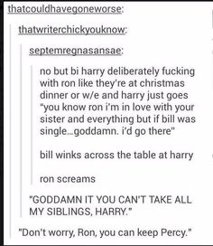 omg this always makes me laugh so much x >>>> Drarry is SO much better than Hinny! Images Harry Potter, Harry Potter Jokes, Harry Potter Fandom, Hogwarts, Slytherin, Must Be A Weasley, Ron Weasley, No Muggles, Yer A Wizard Harry