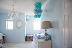 We love the soft shades of blue and playful accents! #projectnursery