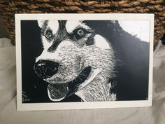 Husky Black and White Scratchboard by TandFArtistry on Etsy