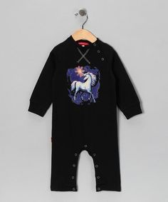 Black Unicorn Playsuit - Infant by Oh Baby London on #zulily