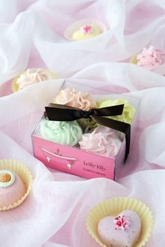 Cupcake Bath Bombs, lip scrub, and exfoliater! :) all homemade <3